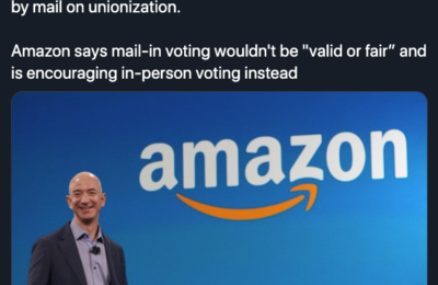 "Amazon says mail-in voting wouldn't be ""valid or fair"""